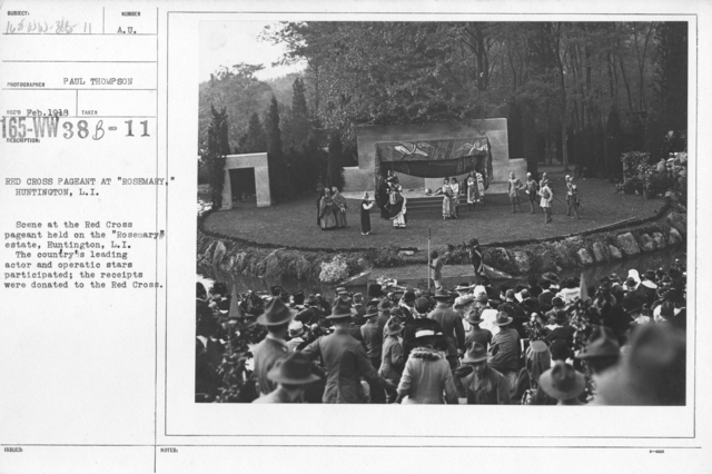"""American Red Cross - Soliciting Funds - Entertainments - Red Cross Pageant at """"Rosemary,"""" Huntington, L.I. Scene at the Red Cross pagant heldon the """"Rosemary"""" estate, Huntington, L.I. The country's leading actor and operatic stars participated; the receipts were donated to the Red Cross"""
