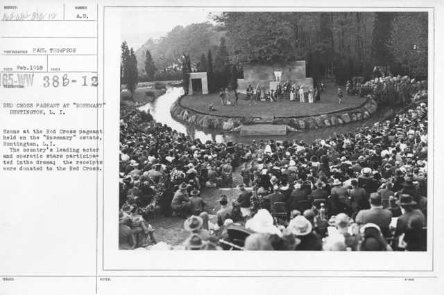 """American Red Cross - Soliciting Funds - Entertainments - Red Cross Pageant at """"Rosemary"""" Huntington, L.I. Scene at the Red Cross pageant held on the """"Rosemary"""" estate, Huntington, L.I. The country's leading actor and operatic stars participated in the drama; the receipts were donated to the Red Cross"""
