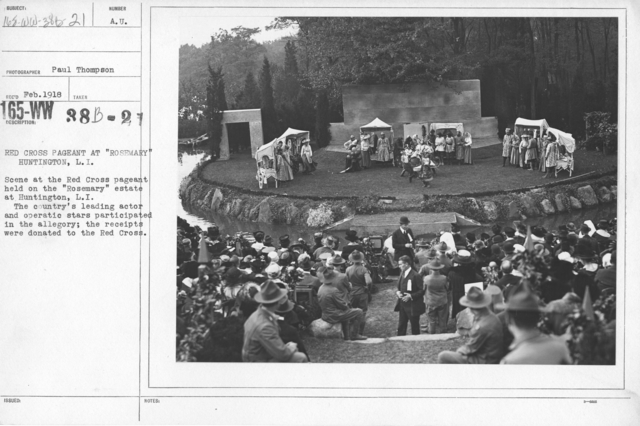 "American Red Cross - Soliciting Funds - Entertainments - Red Cross Pageant at ""Rosemary"" Huntington, L.I. Scene at the Red Cross pageant held on the ""Rosemary"" estate, Huntington, L.I. The country's leading actor and operatic stars participated in the drama; the receipts were donated to the Red Cross"