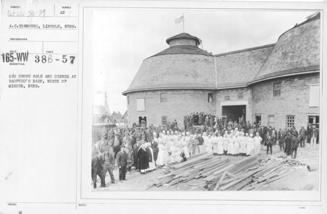 American Red Cross - Soliciting Funds - Entertainments - Red Cross sale and dinner at Radford's Barn, North of Minden, Nebraska