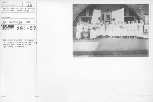 American Red Cross - Soliciting Funds - Entertainments - Red Cross workers in charge of local picture show benefit; second Red Cross War Fund, Opelousas, Louisiana