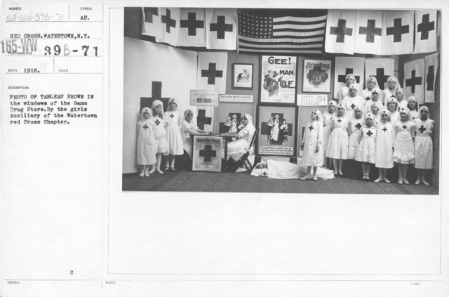 American Red Cross - Soliciting Funds - Miscellaneous - Photo of Tableau shown in the windows of the Gamm Drug Store. By the girls Auxiliary of the Watertown Red Cross Chapter