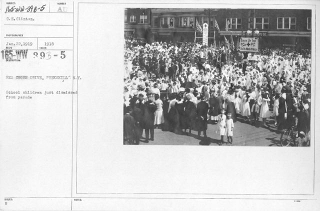 American Red Cross - Soliciting Funds - Miscellaneous - Red Cross Drive, Peekskill, N.Y. School children just dismissed from parade
