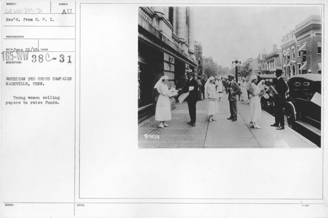 American Red Cross - Soliciting Funds - Personal Appeal - American Red Cross Campaign Nashville, Tenn. Young women selling papers to raise funds