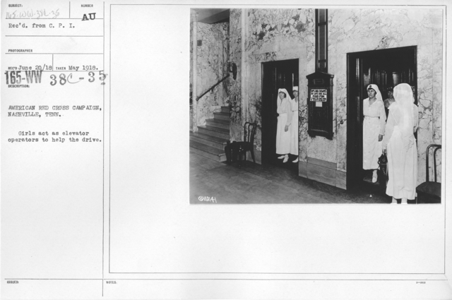 American Red Cross - Soliciting Funds - Personal Appeal - American Red Cross Campaign, Nashville, Tenn. Girls act as elevator operators to help the drive