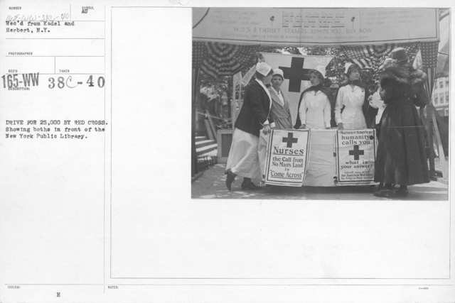 American Red Cross - Soliciting Funds - Personal Appeal - Drive for 25,000 by Red Cross. Showing booths in front of the New York Public Library