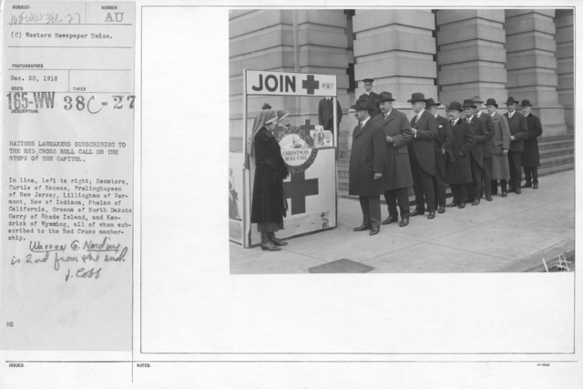 American Red Cross - Soliciting Funds - Personal Appeal - Nations lawmakers subscribing to the Red Cross roll call on the steps of the Capitol. Inline, left to right; Senators, Curtis of Kansas, Frelinghuysen of New Jersey, Lillingham of Vermont, New of Indiana, Phelan of California, Gronna of North Dakota Gerry of Rhode Island, and Kendrick of Wyoming, all of whom subscribed to the Red Cross membership