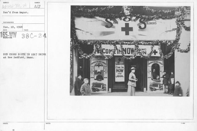 American Red Cross - Soliciting Funds - Personal Appeal - Red Cross Booth in 1917 Drive at New Bedford, Mass