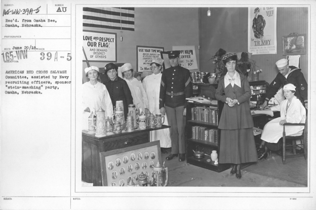 "American Red Cross - Soliciting Funds - Public Gatherings - American Red Cross Salvage Committee, assisted by Navy recruiting officers, sponsor ""stein-smashing"" party, Omaha, Nebraska"