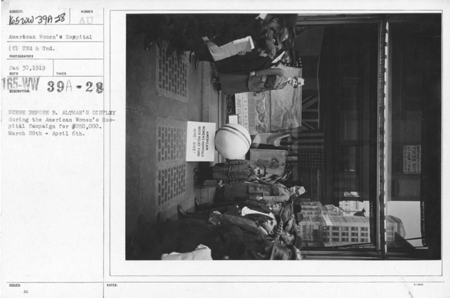 American Red Cross - Soliciting Funds - Public Gatherings - Scene before B. Altman's display during the American Women's Hospital Campaign for $250,000. March 28th - april 6th