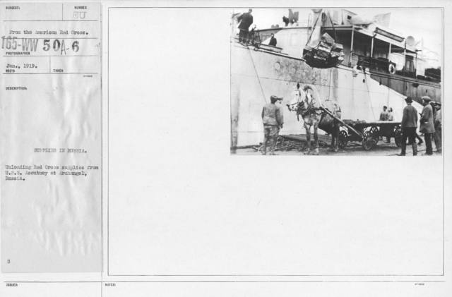 American Red Cross - Supplies - Supplies in Russia. Unloading Red Cross supplies from U.S.S. Ascutney at Archangel, Russia