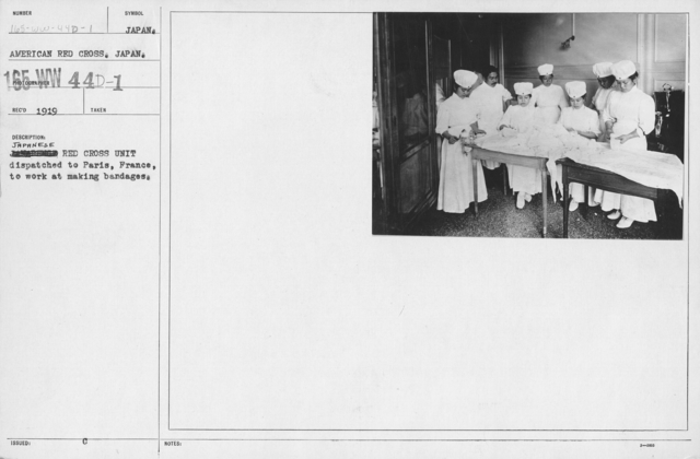 American Red Cross - Switzerland, & Misc. - Japanese Red Cross Unit dispatched to Paris, France, to work at making bandages