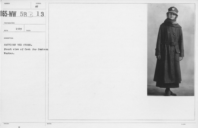 American Red Cross - Uniforms - American Red Cross. Front view of Coat for Canteen worker