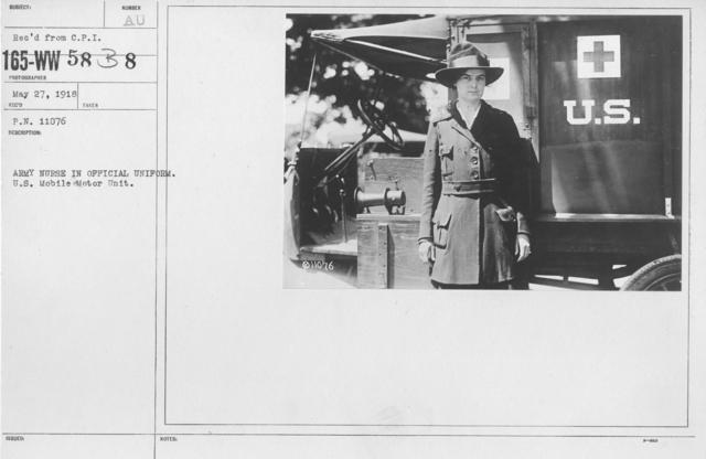 American Red Cross - Uniforms - Army Nurse in Official Uniform. U.S. Mobile Motor Unit