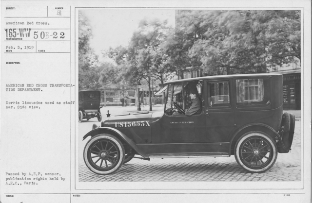 American Red Cross - Vehicles - American Red Cross Transportation Department. Dorris limousine used as staff car. Side view