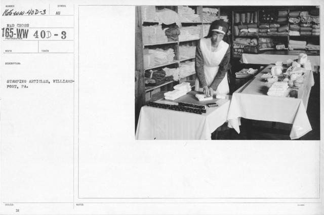 American Red Cross - War Work - Stamping articles, Williamsport, PA