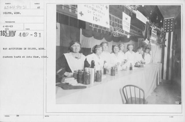 American Red Cross - War Work - War Activities in Duluth, Minn. Canteen booth at Auto Show, 1918
