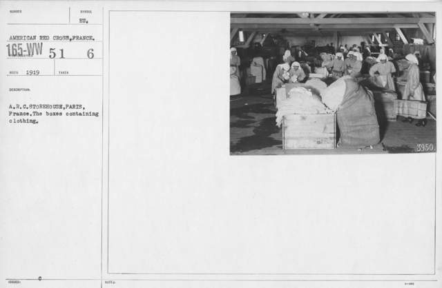 American Red Cross - Warehouses - A.R.C. storehouse, Paris, France. The boxes containing clothing