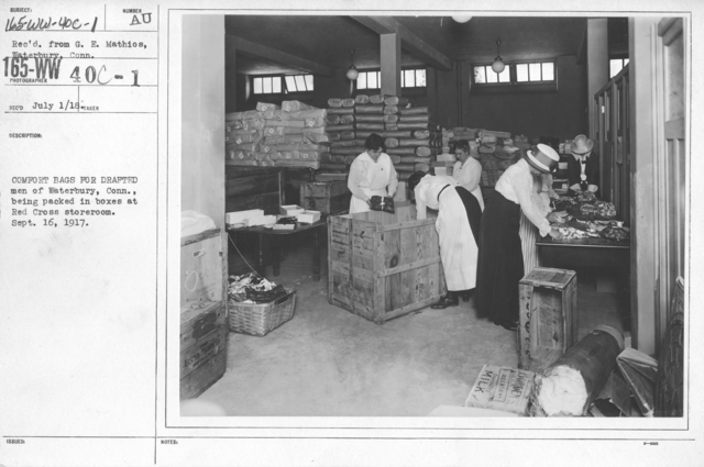 American Red Cross - Warehouses - Comfort bags for drafted men of Waterbury, Conn., being packed in boxes at Red Cross storerooom. Sept. 16, 1917