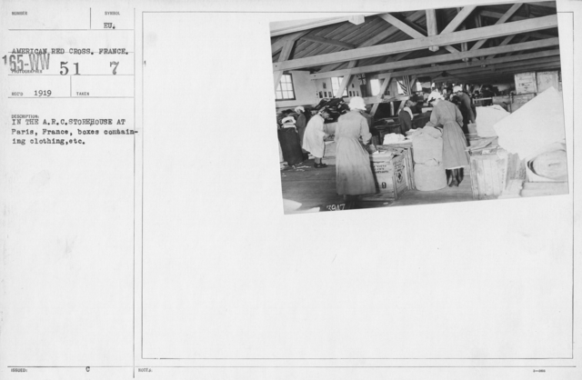 American Red Cross - Warehouses - In the A.R.C. storehouse at Paris, France, boxes containing clothing, etc