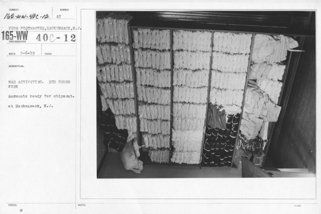 American Red Cross - Warehouses - War Activities. Red Cross Work. Garments ready for shipment. At Hackensack, N.J