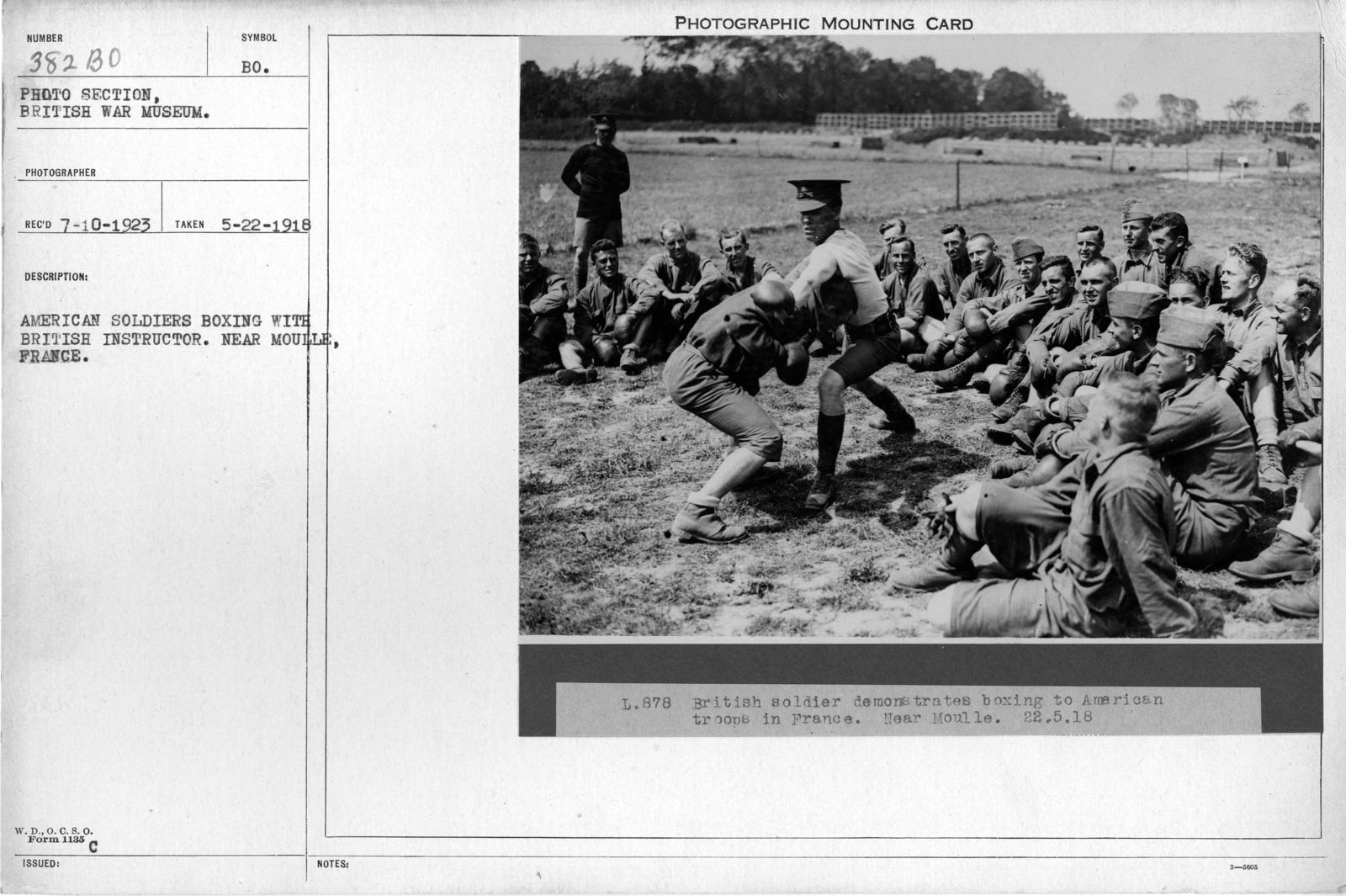 American soldiers boxing with British instructor. Near Moule France; 5/22/1918