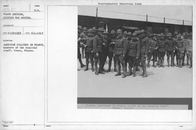 American soldiers in France, members of the hospital staff. Rouen, France. 6-1-1917