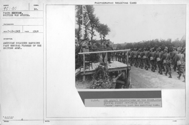 American soldiers marching past General Plummer of the British Army. 1918