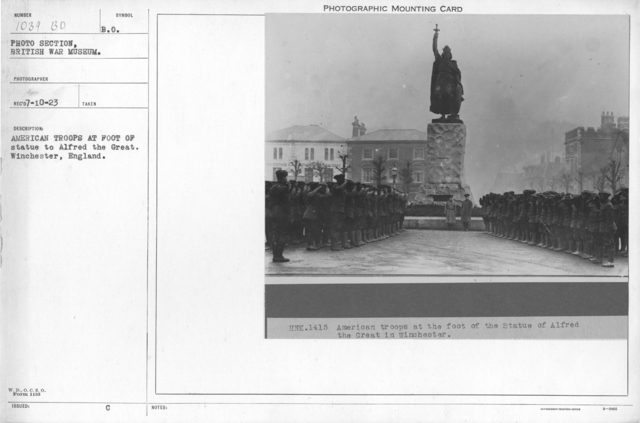 American troops at foot of statue to Alfred the Great. Winchester, England