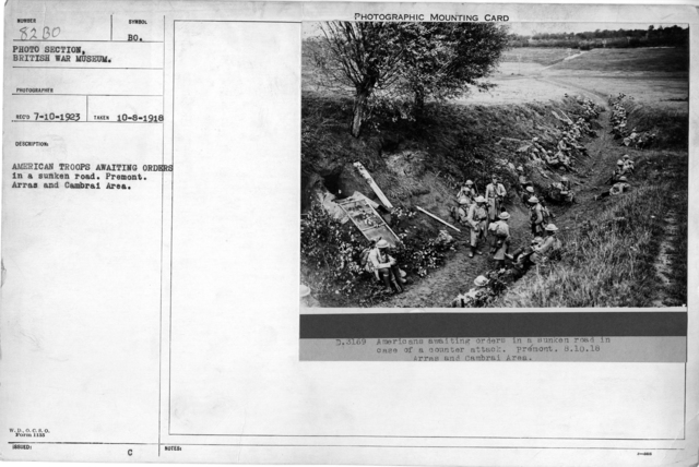 American troops awaiting orders in a sunken road. Premont. Arras and Cambrai Area