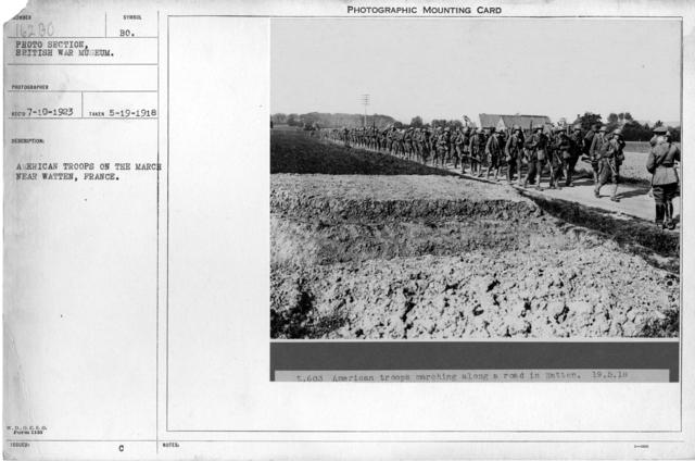 American troops on the march near Watten, France