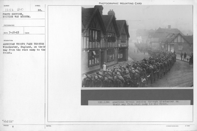 American troops pass through Winchester, England, on their way from the rest camp to the front