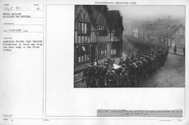 American troops pass through Winchester on their way from the rest camp to the front lines