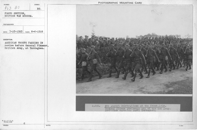American troops passing in review before General Plummer, British Army, at Terdeghem. 8-4-1918