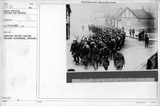 American troops passing through Winchester, England