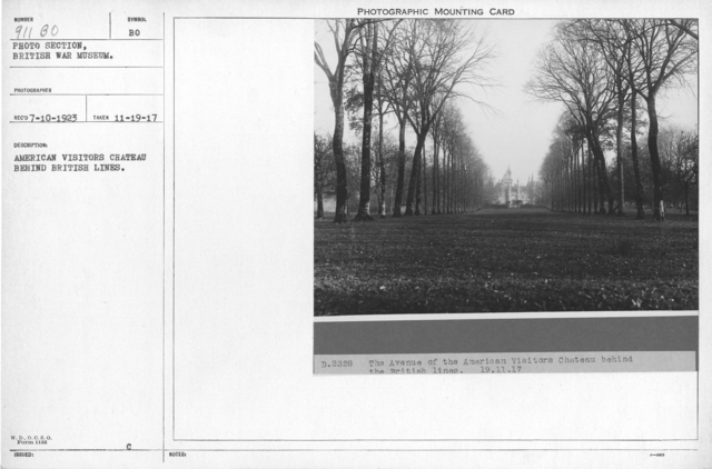 American Visitors Chateau behind British lines. 11-19-1917