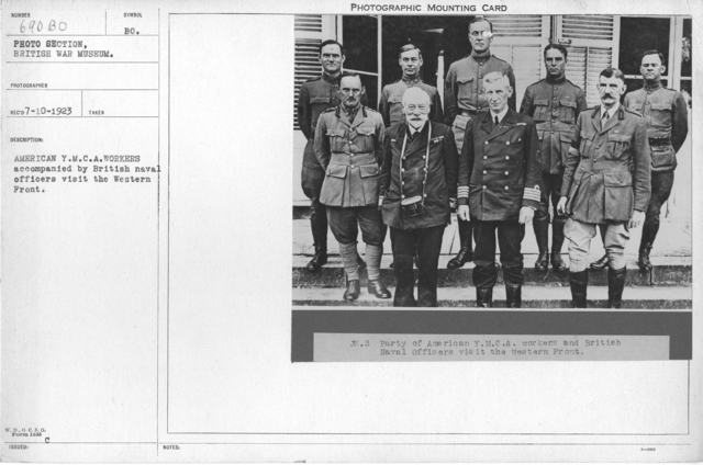 American Y.M.C.A. workers accompanied by British Naval officers visit the Western front