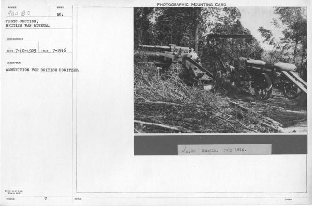 Ammunition for British Howitzer. July 1916