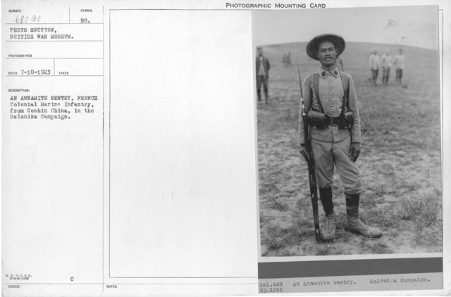 An Annamite sentry, French Colonial Marine Infantry, from Cochin China, in the Salonika Campaign