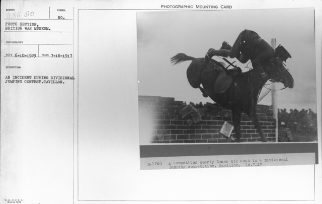 An incident during Divisional jumping contest. Cavillon. 7-18-1917