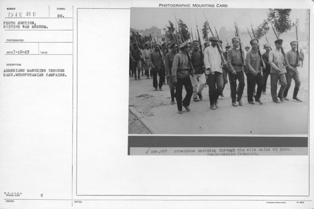 Armenians marching through Baku. Mesopotamian Campaign