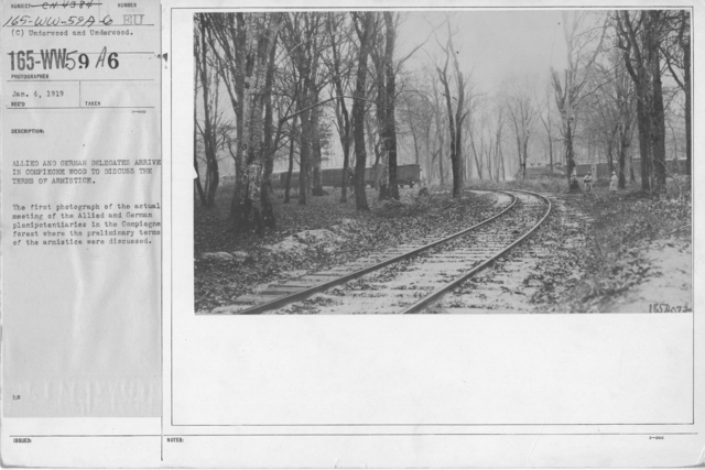 Armistice - Armistice - Allied and German delegates arrive in Compiegne Wood to discuss the terms of Armistice. The first photograph of the actual meeting of the Allied and German plenipotentiaries in the Compiegne forest where the preliminary terms of the armistice were discussed