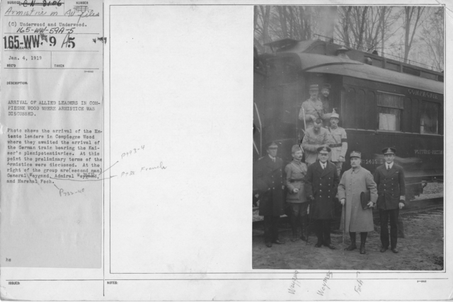 Armistice - Armistice - Arrival of allied leaders in Compiegne Wood where Armistice was discussed. Photo shows the arrival of the Entente leaders in Compiegne Wood where they awaited the arrival of the German train bearing the Kaiser's plenipotentiaries. At this point the preliminary terms of the Armistice were discussed. At the right of the group are (second man) General Weygand, Admiral Wemyss and Marshal Foch