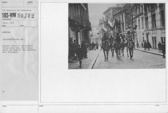Armistice - Armistice - Britishersenter Spa. Advance forces of the British forces enter Spa, the village where the terms of the armistice were discussed
