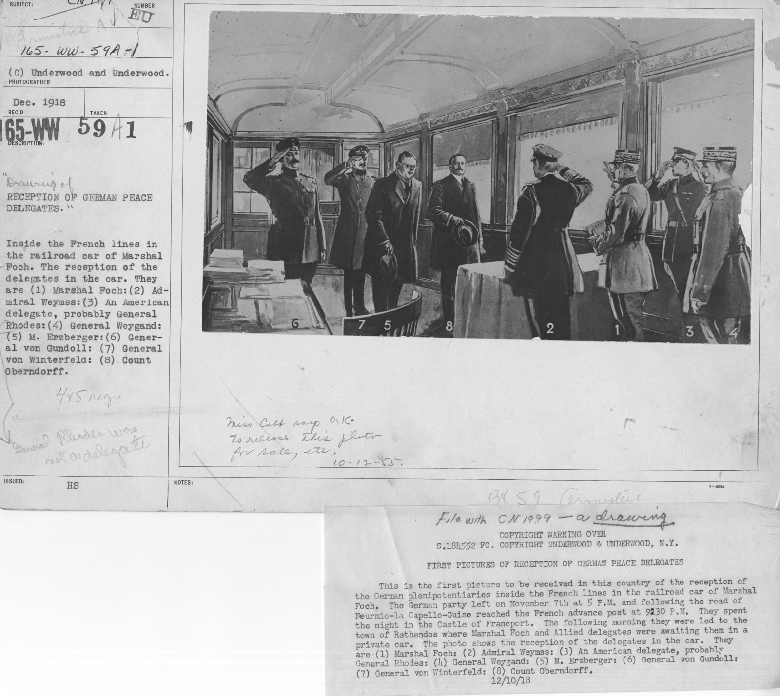 Armistice - Armistice - Drawing of Recption of German Peace Delegates. Inside the French lines in the railroad car of Marshal Foch. The reception of the delgates in the car. They are (1) Marshal Foch: (2) Admiral Weymiss: (3) An American delegate, probably General Rhodes: (4) General Weygand: (5) M. Erzberger: (6) Gernal von Gundoll: (7) Gernal von Winterfield: (8) Count Oberndorff