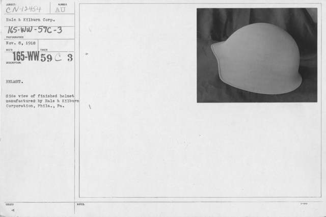 Armor - Body and Helmets - Helmet. Side view of finished helmet manufactured by Hale & Kilburn Corporation, Phila., PA