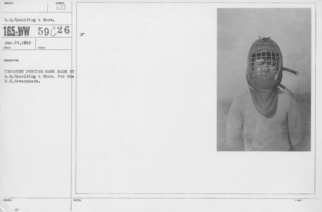 Armor - Body and Helmets - Side view of Infantry Fencing Mask made