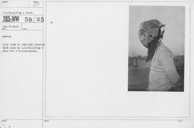 Armor - Body and Helmets - Side view of Infantry Fencing Mask made by A.G. Spaulding & Bros for U.S. Government