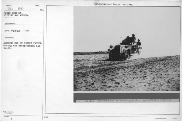 Armored car on desert patrol during the Mesopotamian campaign