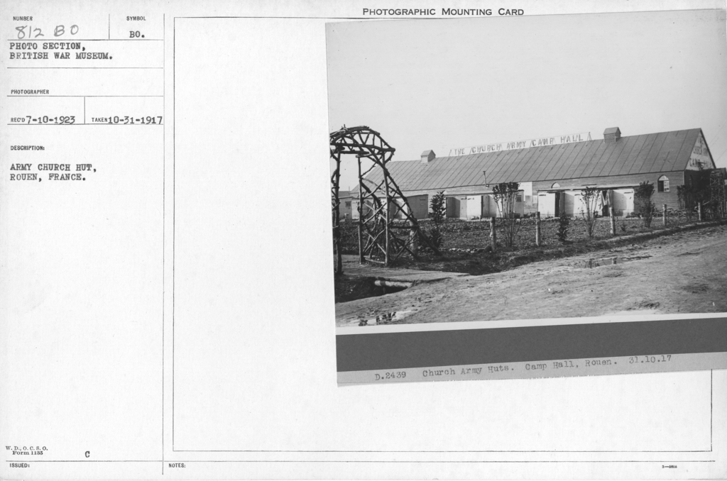 Army church hut, Rouen, France. 10-31-1917
